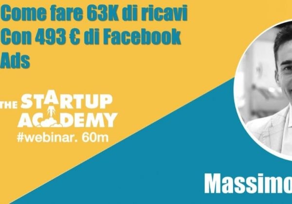 """Webinar Le Village """"Come fare 63k di ricavi con 493 euro di Facebook Ads"""""""